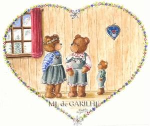 aquarelle famille ours en coeur