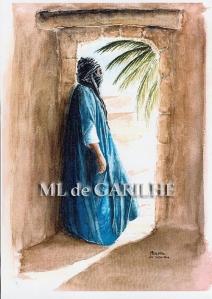 aquarelle homme bleu devant la porte