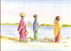 Aquarelle indiennes qui portent de l'eau