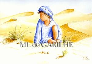 Aquarelle l'enfant du désert