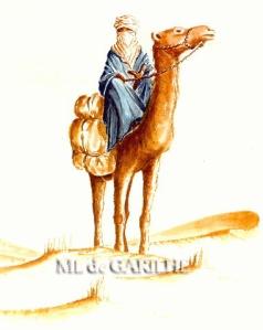 Aquarelle  touareg sur son chameau jpg