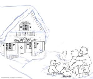 coloriage chalet et la famille ours redim